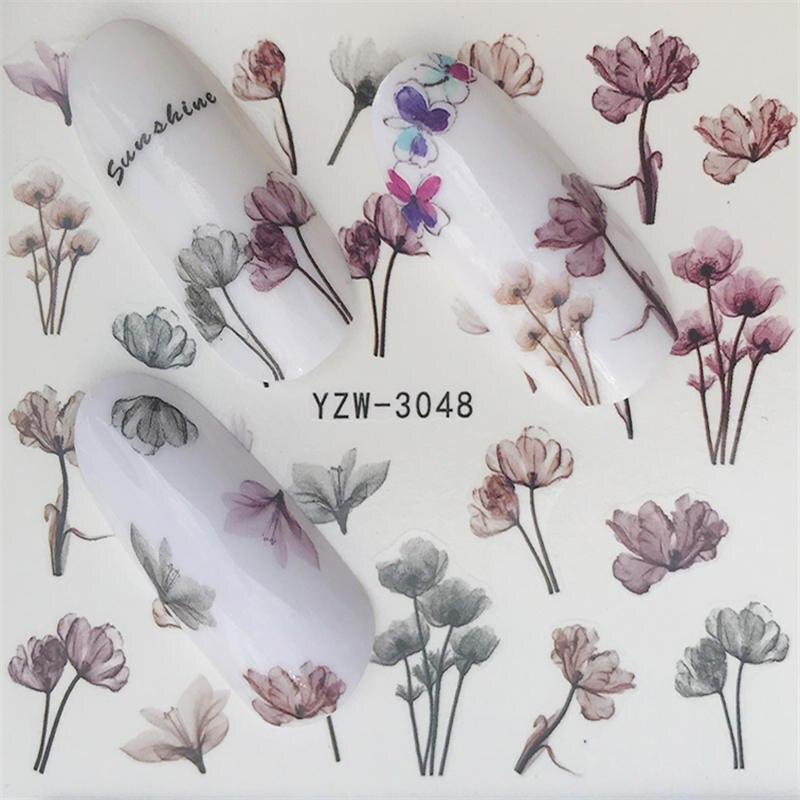 YZWLE стикер для ногтей художественное украшение слайдер лиса волк животное клейкая дизайнерская водная наклейка маникюрный лак аксессуары лак фольга - Цвет: YZW-3048