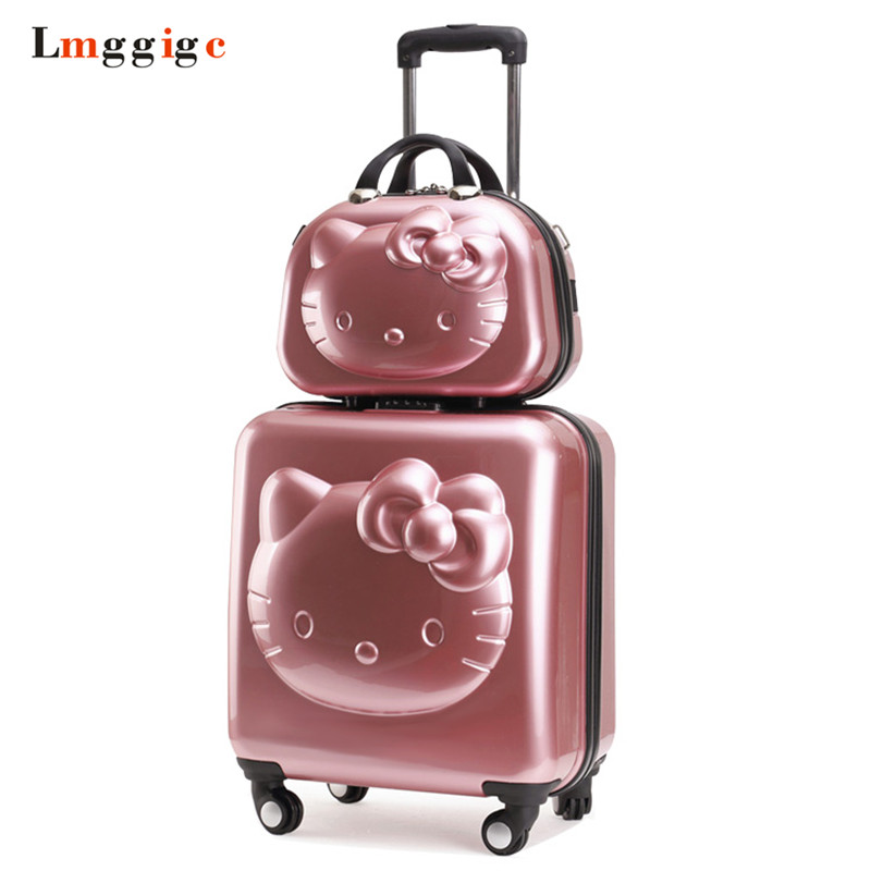 Kids Hello Kitty Suitcase Bag set,Women Luggage,Gift for Children ,Cartoon Rolling Travel Box,Universal Wheel ABS Trolley Case cartoon watch new arrival lovely girls hello kitty women watch children christmas fashion kids crystal wrist watch for gift