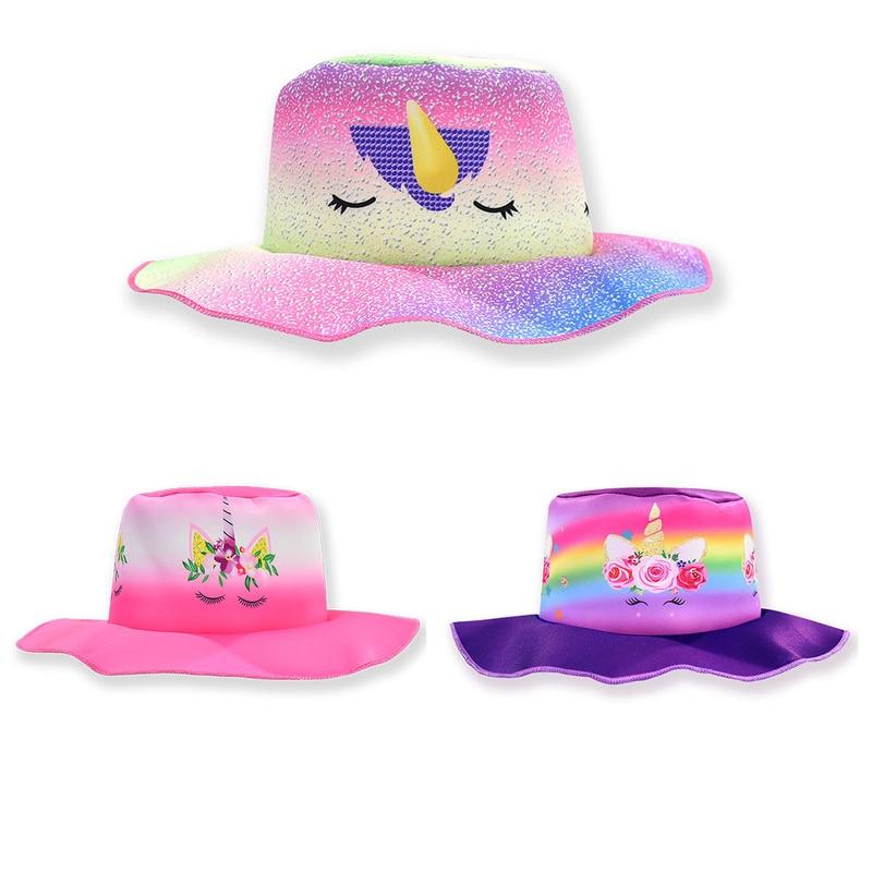New childrens clothing fisherman hat Unicorn girls cartoon summer baby sun protection