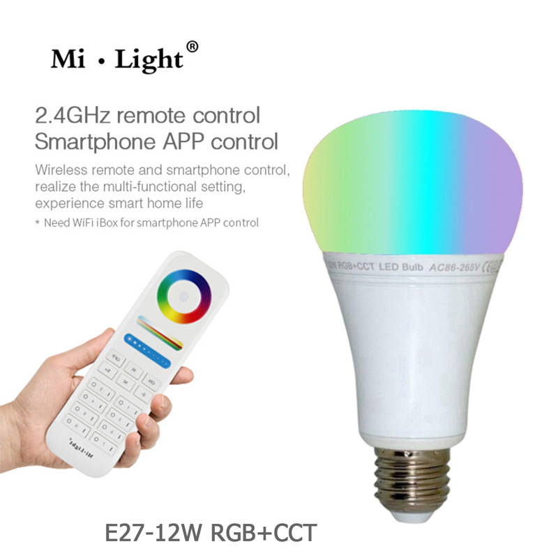 MiLight FUT105 E27 12W RGB+CCT LED Bulb 110V 220V Wireless 2.4G Bulb Dimmable 2 in 1 Smart LED Light Work With 8-Zone Remote dc12v 2 4g wireless milight dimmable led bulb 4w mr16 rgb cct led spotlight smart led lamp home decoration