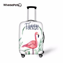 ФОТО WHOSEPET Flamingo Case Travel Dustproof Luggage Cover Fresh Elastic Stretch Protect Suitcase Cover for Women Girl Travel