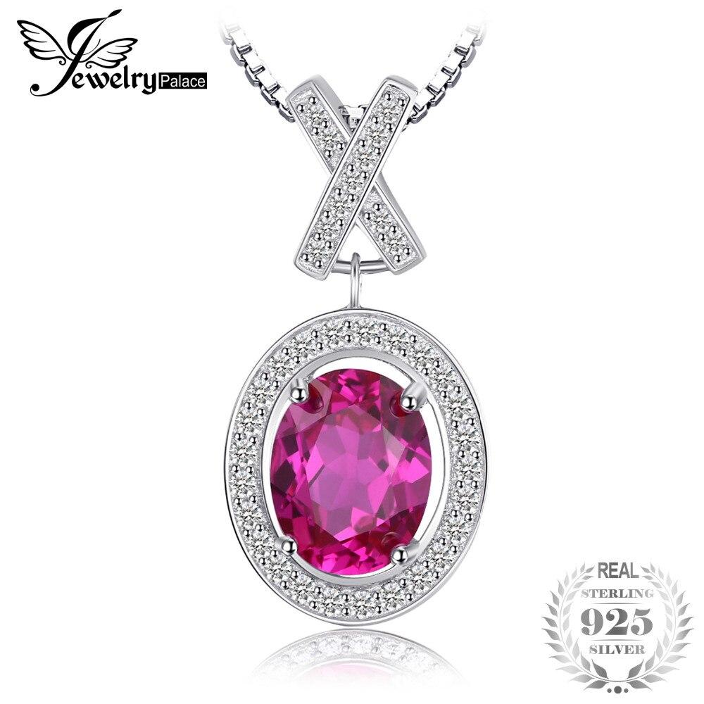 JewelryPalace Классический 2.7ct Овальной Создано Розовый Сапфир Halo Пасьянс Подвеска Стерлингового Серебра 925 Изящных Ювелирных Изделий Без Цепи