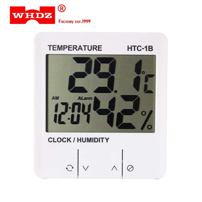 Exclusieve! Digitale Thermometer Elektronische Temperatuur Vochtigheid Meter HTC-1B Indoor Kamer Hygrometer Weerstation Wekker