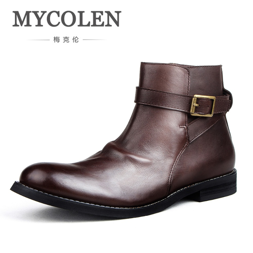 MYCOLEN New Men Spring Autumn Winter Zipper Chelsea Boots Brand Designer Male Super Cool Business To Man Men'S Winter Shoes mulinsen new 2017 autumn winter men