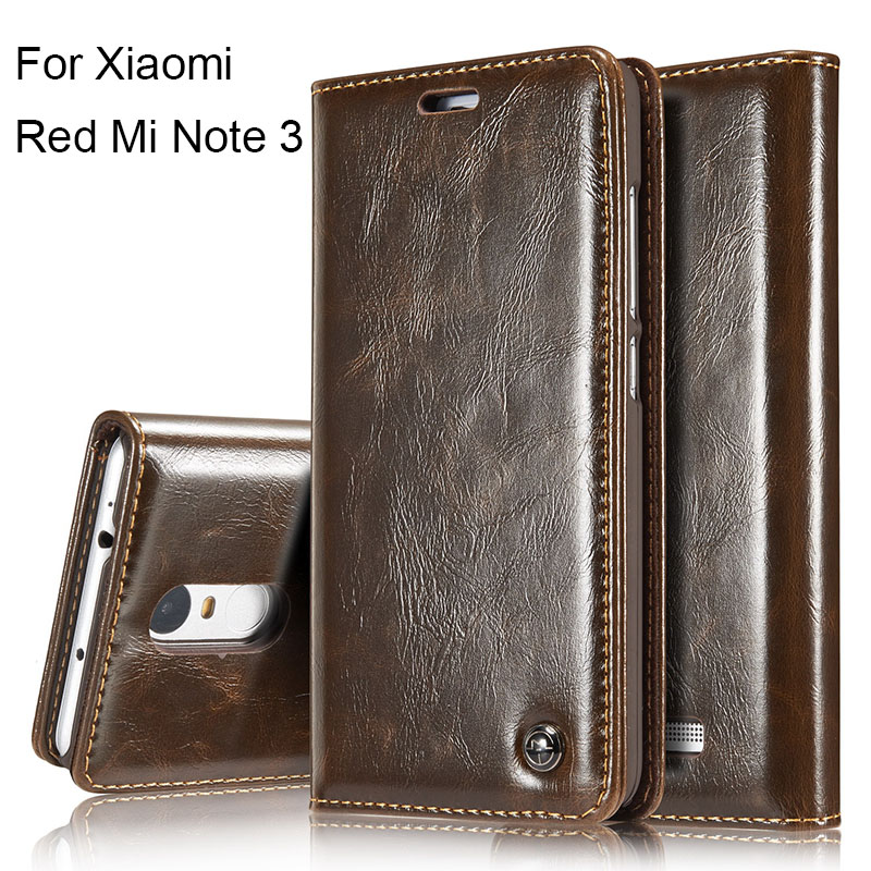 Luxury Retro Flip Cover For Xiaomi RedMi Note 3 Case Genuine Real Leather Wallet Card Holder