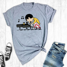 Freddie Mercury PlayThe Piano Funny Cute Women Shirt Queen Freddie Piano Top
