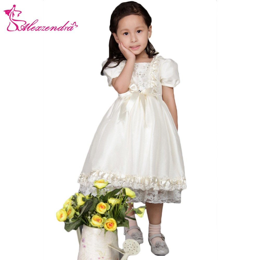 Alexzendra White Ivory Tea Length Cute Flower Girls Dresses with Sleeves Girls First Communion Dress Princess Girl Dress