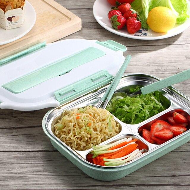 Обед Инструменты Нержавеющаясталь дети Bento Box 4 Сетка с крышкой печь Еда Box Контейнер для хранения Обед Bento Коробки Столовая посуда набор