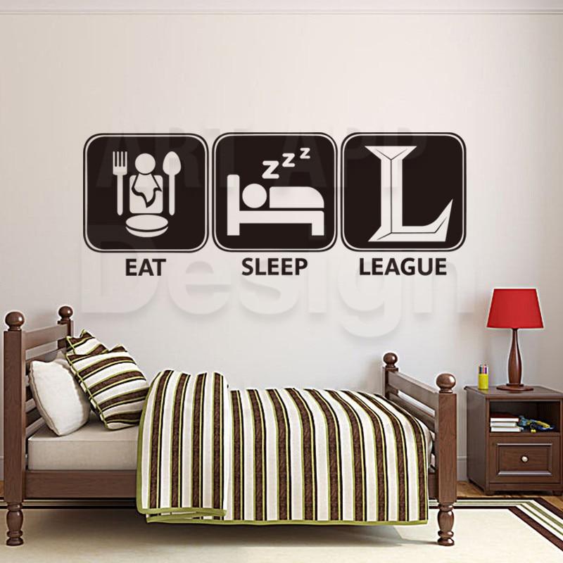 Art new design home decoration eat sleep league vinyl wall sticker ...