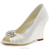 Frauen Schuhe WP1547 Elfenbein Blau Peep Toe Braut Pumps Keile Heels Blume Clips abnehmbare Braut Lady Hochzeit Schuhe