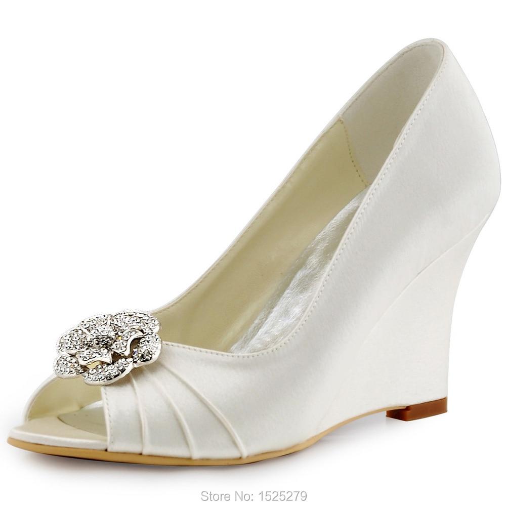 Women Shoes WP1547 Ivory Blue Peep Toe Bride Evening Party Pumps Wedges Heels Flower Clips Detachable