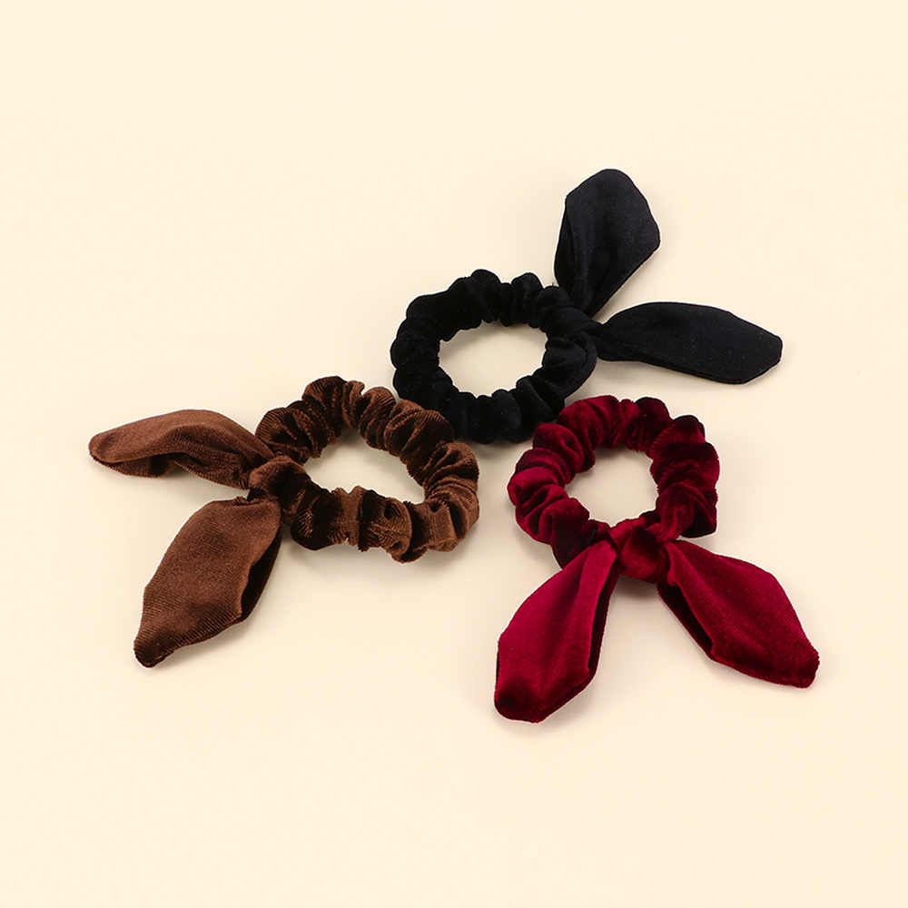 Autumn Winter New Simple Steel Wire Cute Rabbit Ears Shape Flannel Hair Ring Elastic Head Rope For Girls Hair Accessories