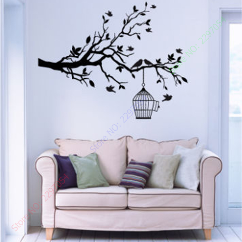High Quality Aliexpress.com : Buy Hot Sale Tree Branch With Bird Cage Wall Stickers Wall  Decal Mural Home Decoration From Reliable Tree Branch Suppliers On POOMOO  Decor Part 20