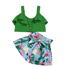 MUQGEW/комплекты для девочек; Одежда для девочек; летние наряды для маленьких девочек; топы с оборками и бретельками; шорты с цветочным принтом и бантом; летняя одежда