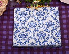 WN020 (3 packs=60pcs) Blue Flourish Wedding Napkin Paper 100% Virgin Wood Tissue for Party Decoration цена и фото