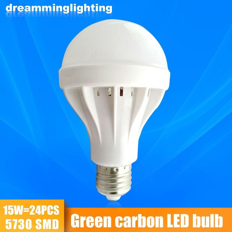 E27 LED Bulbs SMD5730 LED Lamp Thick Line White Plastic Shell Cold Warm White 3W/5W/7W/9W/12W/15W 220V 110V