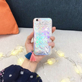 Nuevo láser brillante amor corazones teléfono case cubierta trasera transparente para iphone 7 7 plus 6 6 s 6 más 6 splus glitter cubierta trasera transparente