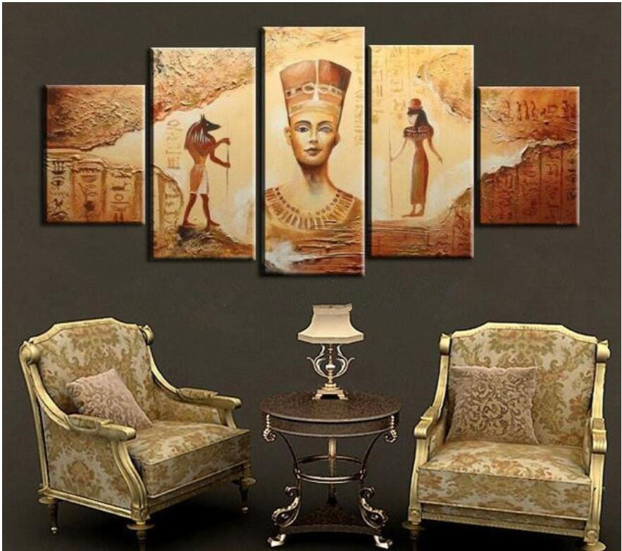 5pcs Abstract Ancient Egyptian Decorative Oil Painting On Canvas Home Decor Wall Picture