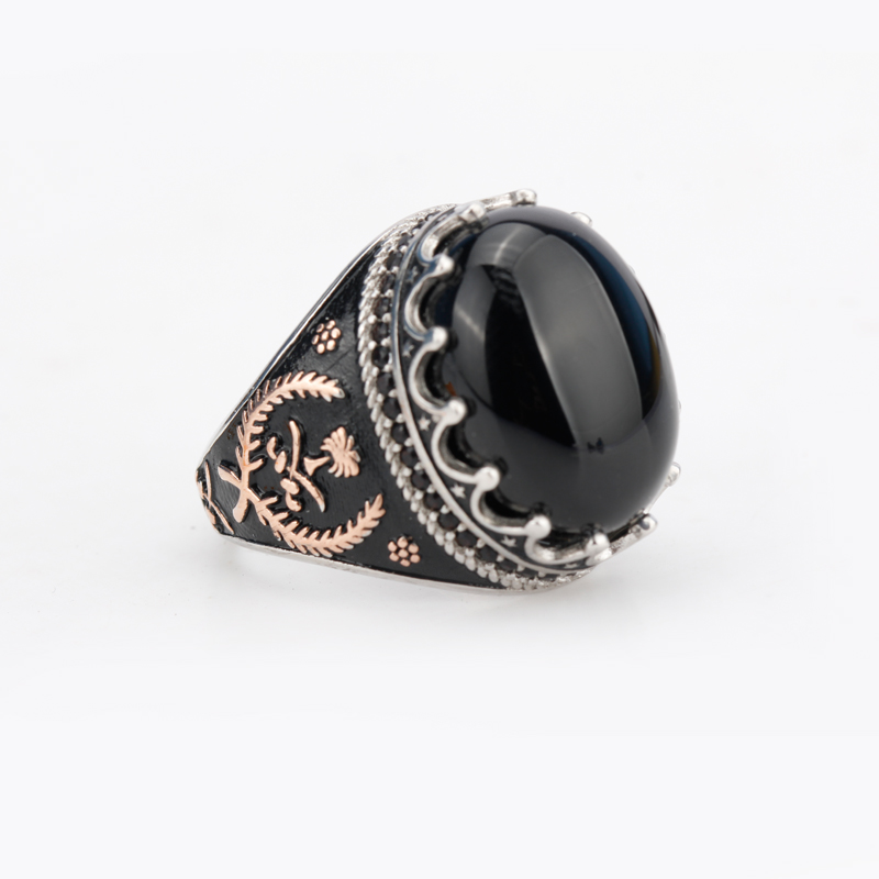 Image 4 - 925 Sterling Silver Men Ring with Oval Black Natural Stone Rings 