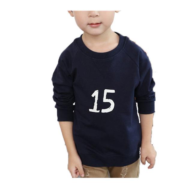 2017 Nueva Primavera Otoño Moda Niños Ropa Boy camisetas de algodón de Manga Larga de Cuello Redondo Ropa de Los Cabritos Muchacha Del Muchacho camisas
