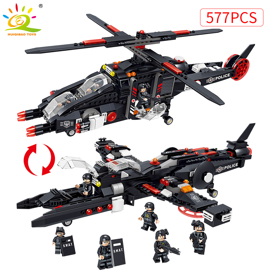 577PCS Military Fighter Swat Team Plane Building Blocks Compatible Legoed Military Helicopter Bricks Pilot Figures Toys For Boy цена