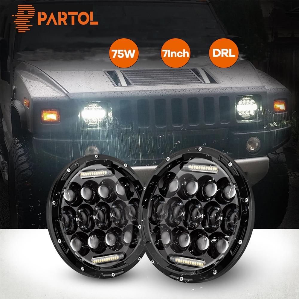 Partol 7inch 75W DRL LED Headlight Bulbs Led Driving Lights H4 H13 Hi lo Headlamp for JEEP Wrangler/Land Rover/Hummer/Harley