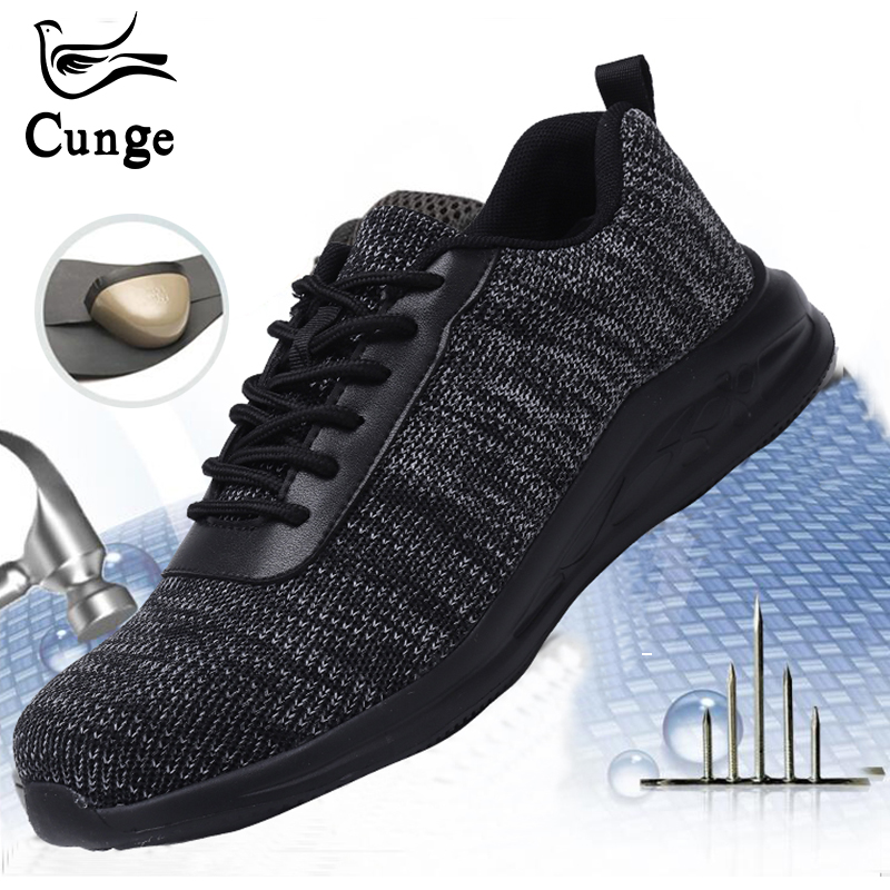Outdoor Hiking Shoes Men Safety Sneakers Lightweight Breathable Steel Toe Work Shoes For Men Anti-smashing Construction Sneakers