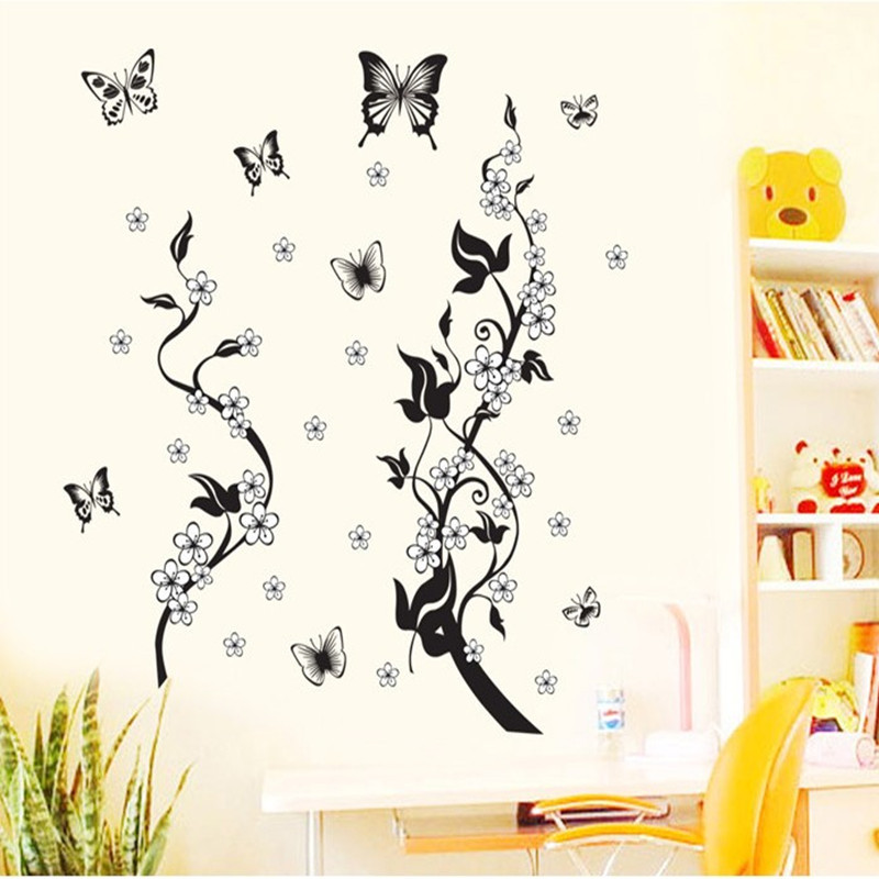 Remove black flower wall decorative stickers sitting room adornment vine of bedroom the head of a bed wall stickers