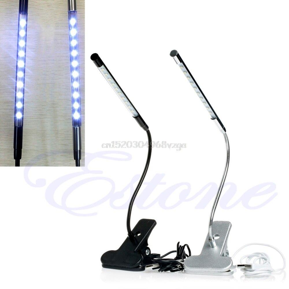 10 LED USB Clip-on Light Flexible Gooseneck Reading Touch Desk Table Lamp clip on 10 led usb light flexible gooseneck reading touch desk table lamp