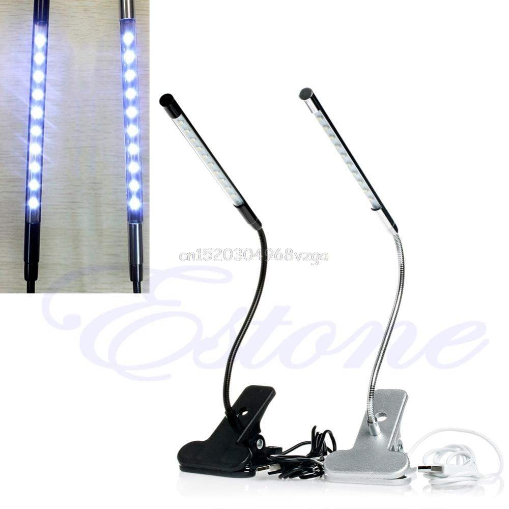 10 LED USB Clip-on Light Flexible Gooseneck Reading Touch Desk Table Lamp