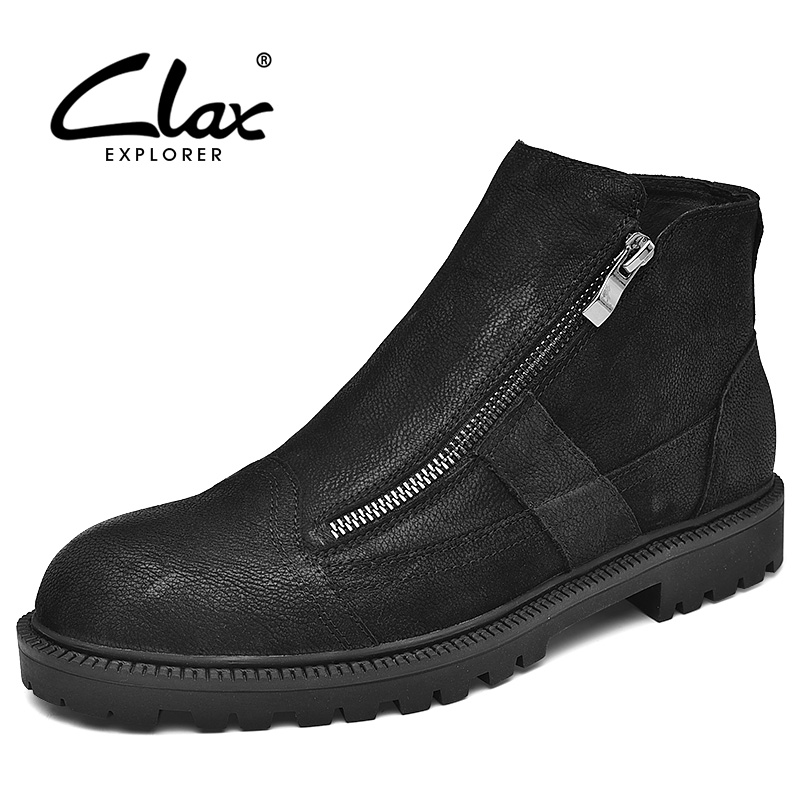 CLAX Mens Boots Zipper Spring Autumn Designer Fashion Leather Boot Male Casual Shoes Genuine Motorcycle Fur warm