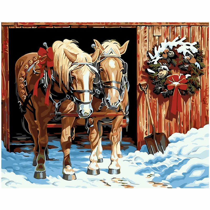 Christmas Horse Drawing.Animals Painting Christmas Snow Horse Drawing Pictures Paints Painting By Numbers Kits Wall Art Acrylic Picture Gift Room Decor
