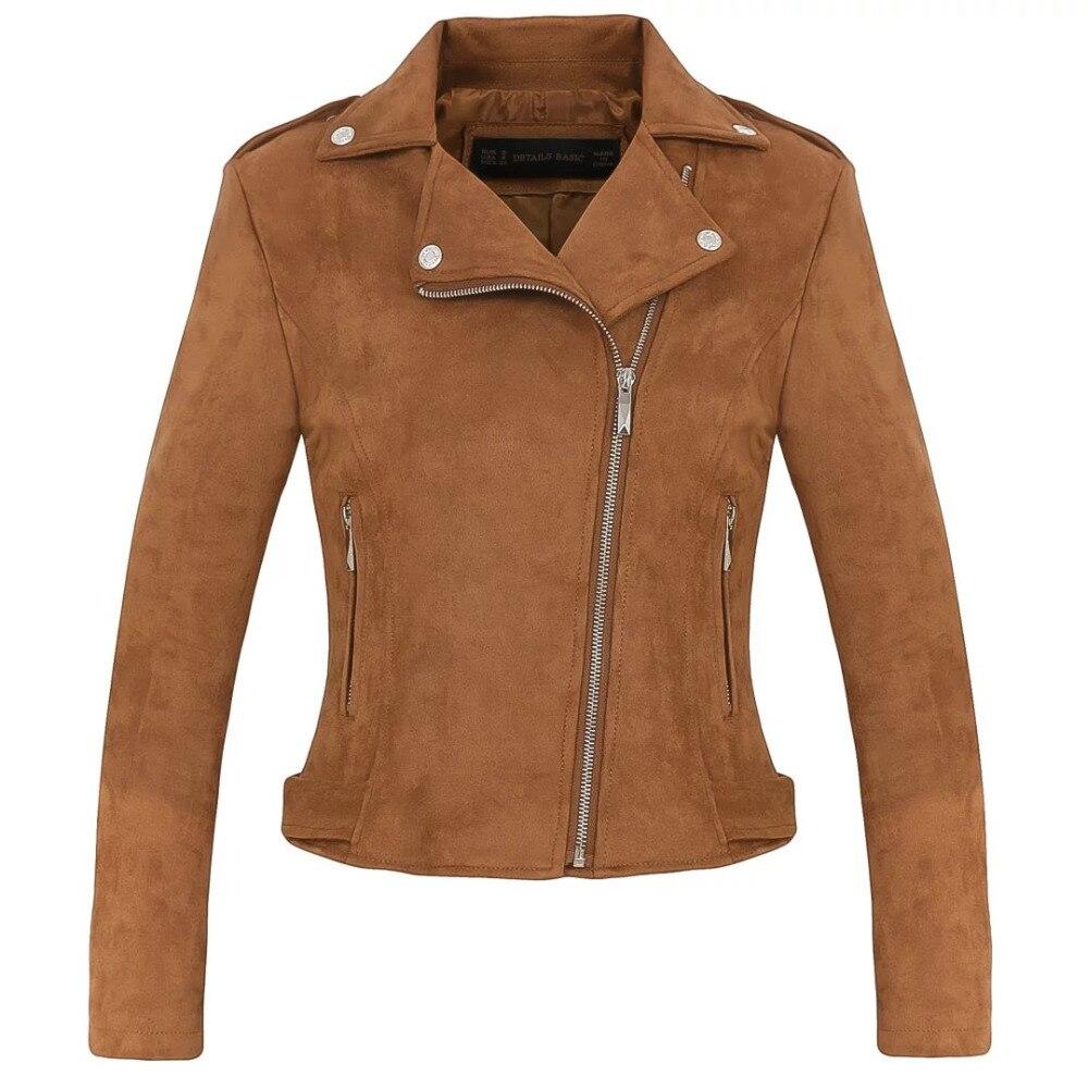 Новые модные женские туфли замшевые мотоциклетные куртки тонкий коричневого внутри на мягкой искусственной кожи женские пальто Весте femme ...