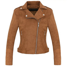 New Fashion Women suede motorcycle jacket Slim brown full lined soft faux Leather female coat veste femme cuir epaulet zipper