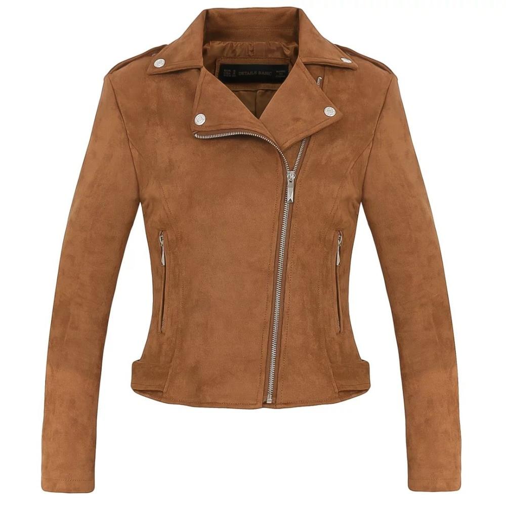 delgada mujer completo moda motocicleta Nueva gamuza chaqueta marrón K1c3JuTF5l