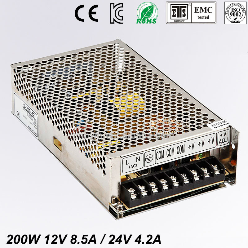 Best quality double sortie 12V 24V 200W Switching Power Supply Driver for LED Strip AC100-240V Input to DC 12V 24V free shipping best quality double sortie 200w switching power supply driver for led strip ac 100 240v input to dc 5v 24v free shipping 10%