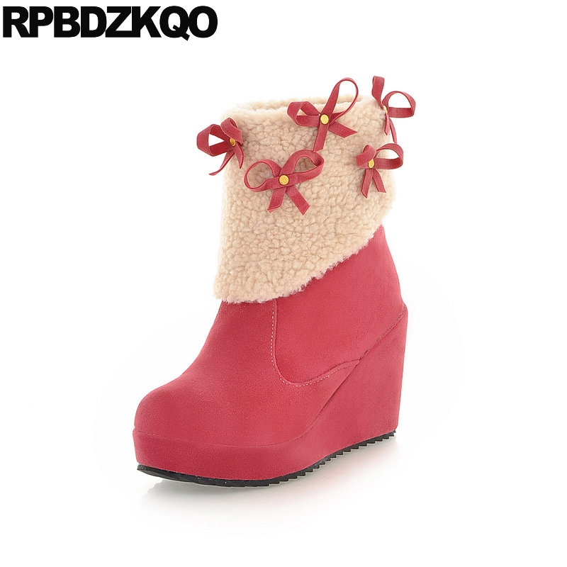 Short Candy Lolita Pink Winter Snow Boots Women Ankle Bow Wedge Slip On 2017 High Heel Shoes Faux Fur Cute Round Toe Suede Furry nayiduyun women genuine leather wedge high heel pumps platform creepers round toe slip on casual shoes boots wedge sneakers