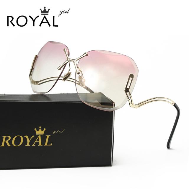 Royal girl new chegar praça da moda sem aro óculos de sol das mulheres revestimento designer de óculos de marca óculos de sol do vintage uv400 ss125