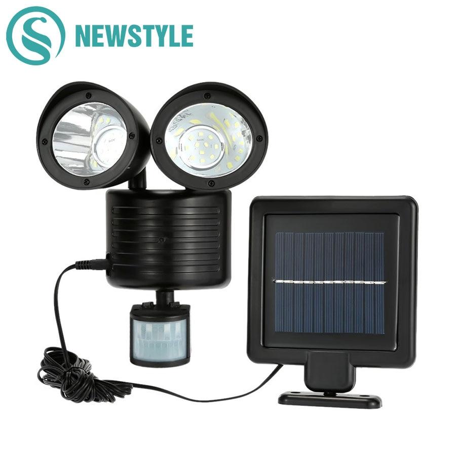 188/22leds LED Solar Light Three Twin Head PIR Motion Sensor Lighting Outdoor Garden Solar Lamp Waterproof Street Security Lamp