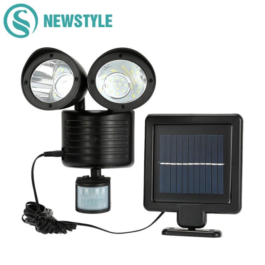 Newstyle 22 leds LED Solar Licht Twin Kopf PIR Bewegungsmelder Beleuchtung Im Freien solarlampe Wasserdicht Pathway Notfall rasen lampe