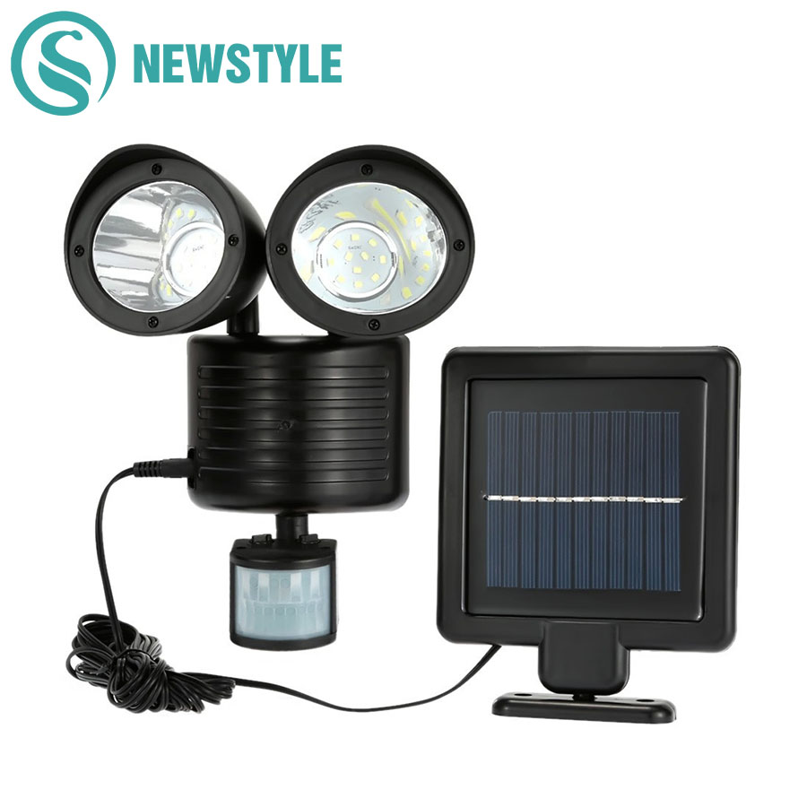 Newstyle 22leds LED Solar Light Twin Head PIR Motion Sensor Lighting Utendørs Solar Lampe Vanntett Pathway Nødladningslampe