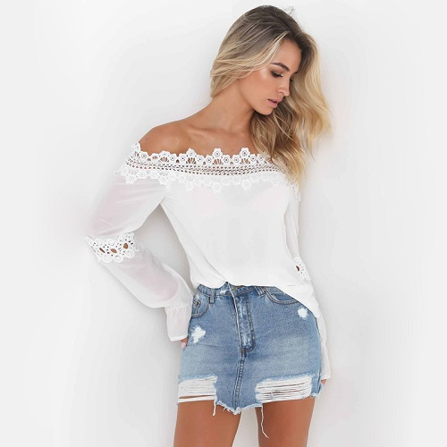 2018 summer blouse fare sleeve lace top sexy off shoulder top White Chiffon Blouse women Shirts