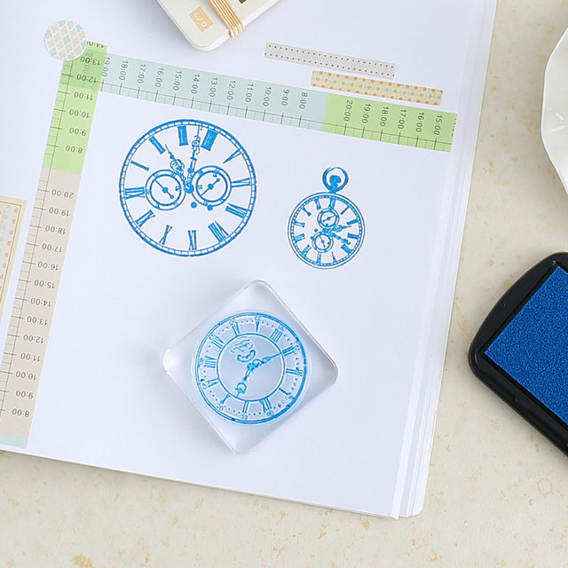 Watch Time Clock Faces Ink Silicone Stamp Seal Steampunk Card Making Scrapbooking Decor Album Photo DIY Diary Paper Craft Art