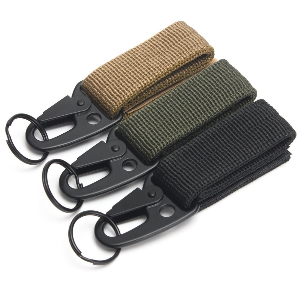 100 pcs/paquet Camping en plein air mousqueton tactique sac à dos crochets Olecranon Molle matériel de survie EDC militaire en Nylon porte-clés fermoir