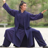 24 Цвета Лен комплект из 3 предметов Удан даосский монах Шаолиня халат тай чи кунг фу костюм Боевые искусства Wing chun униформа