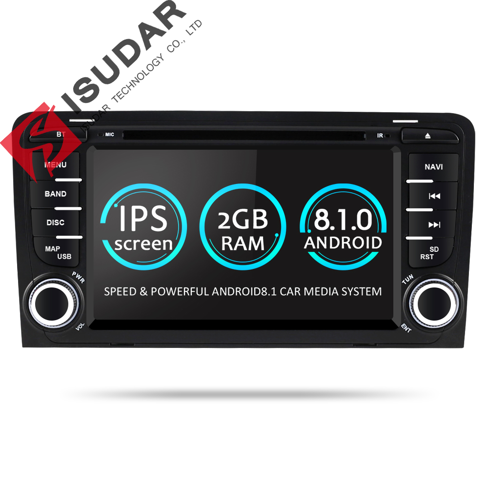 Isudar 2 Din Auto Lettore Multimediale GPS Android 8.1.0 DVD Automotivo Per Audi A3 8 p/A3 8P1 3 -porte Hatchback/S3 8 p/RS3 Sportback