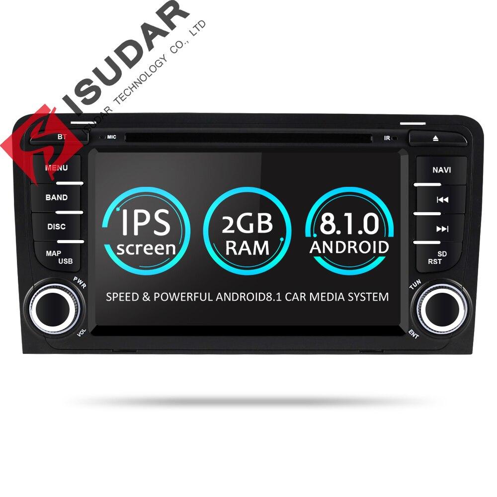 Isudar 2 Din Voiture Lecteur Multimédia GPS Android 8.1.0 DVD Automotivo Pour Audi A3 8 p/A3 8P1 3 -porte Hayon/S3 8 p/RS3 Sportback