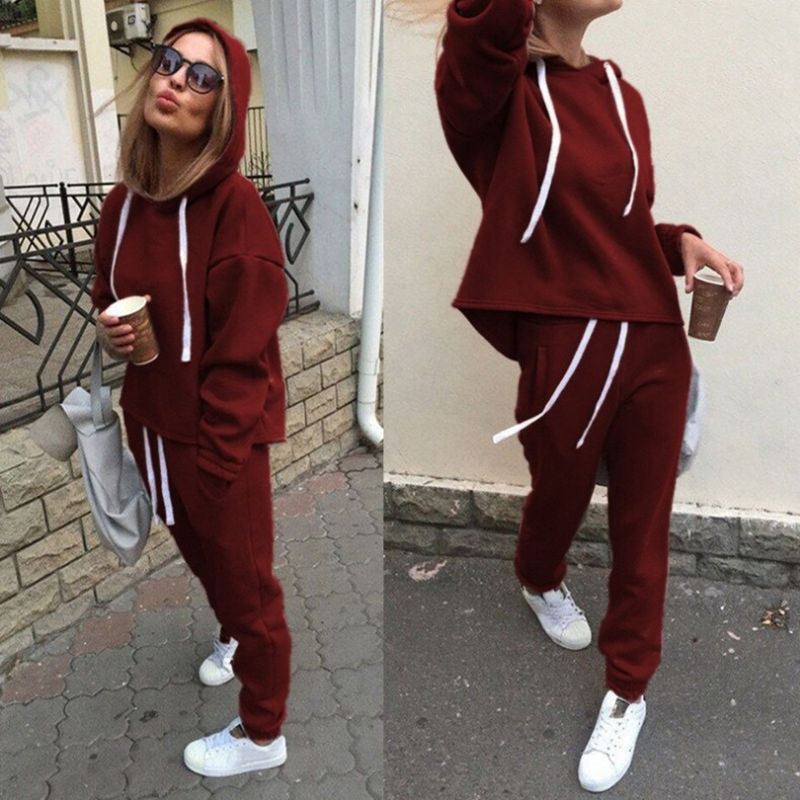 2019 ZP Hot 2pcs Set Hoodies Loose Hooded Tops Sweatshirt+Solid Long Pants 2 Pieces Sets Women Clothing Suits Female Tracksuit