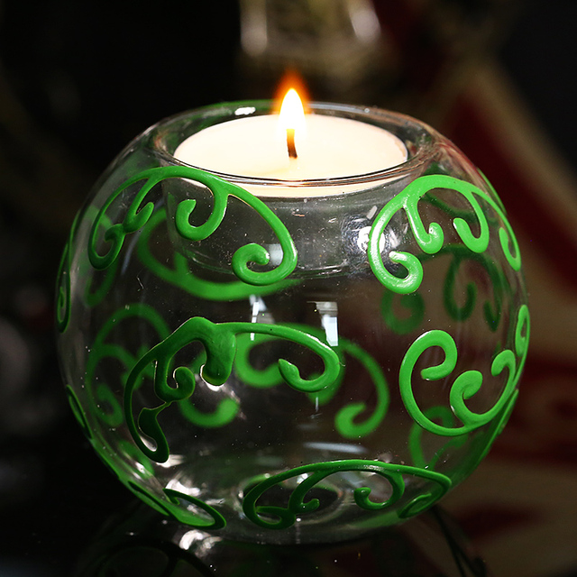 Green Anlter Round Ball Clear Candle Holder for Tealight wedding Decor Christmas Decoration Candlestick freeship