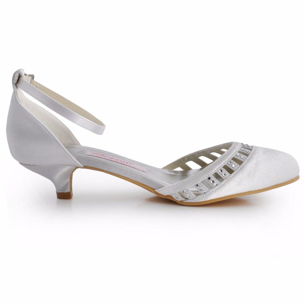 Mulheres Sapatos Branco Salto Baixo Marfim EL 001 Fechada Toe com Tira No  Tornozelo Bombas de Noiva Confortável Lady Nupcial Do Casamento em Bombas  das ... 6c5d328775c8